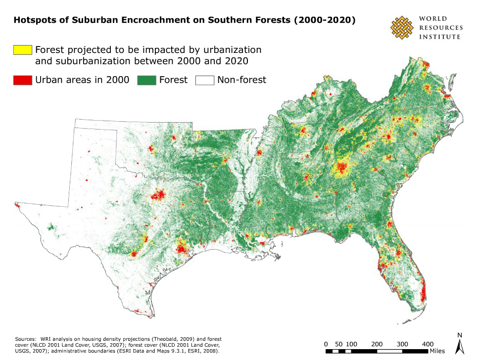 Does Population Growth Mean Forest Loss Carolina Demography - Us-forest-cover-map