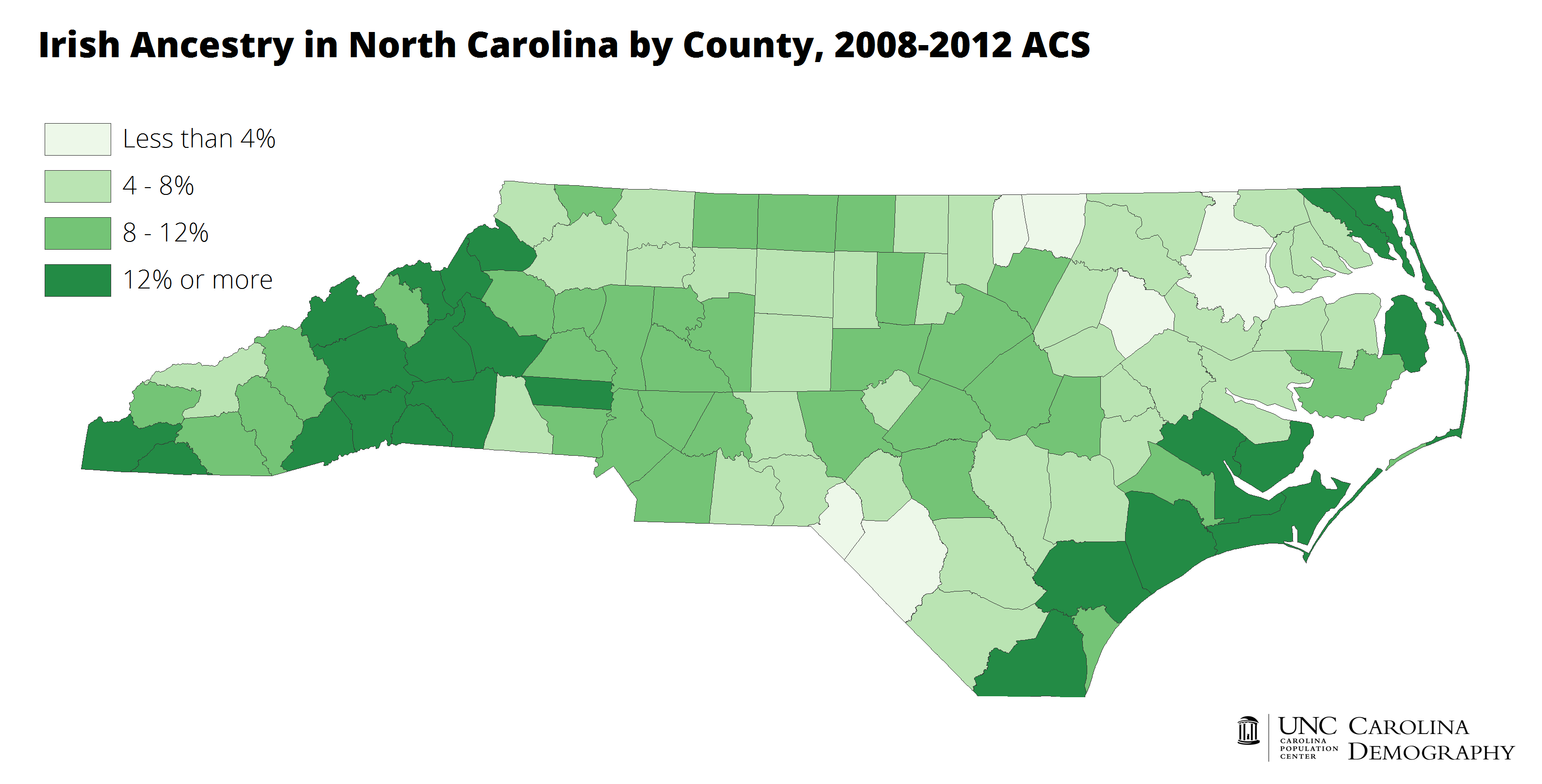 Irish Ancestry by County, NC 2008-2012 ACS