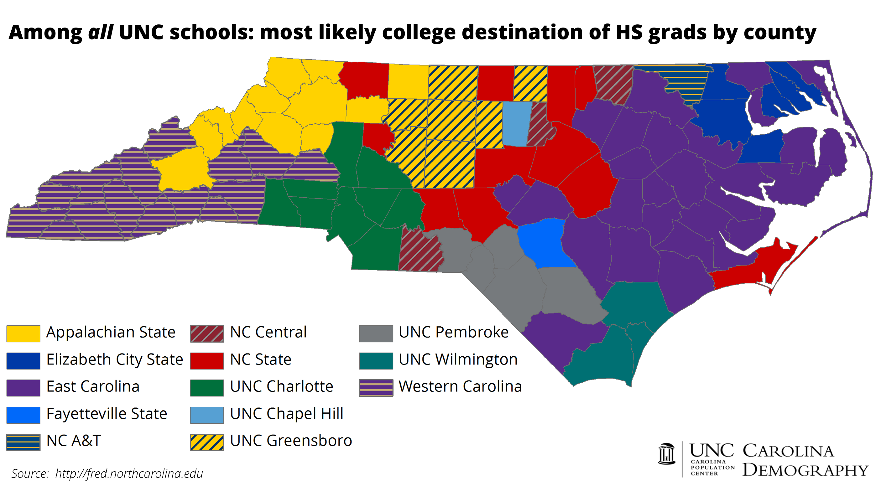 Colleges In North Carolina Map NC College Bound: An Update | Carolina Demography