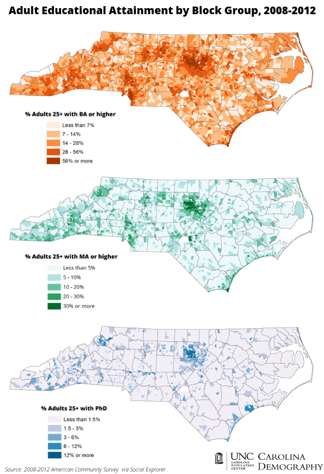 NC Adult Educational Attainment by Block Group