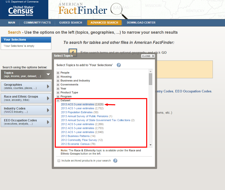 Step 2 American FactFinder