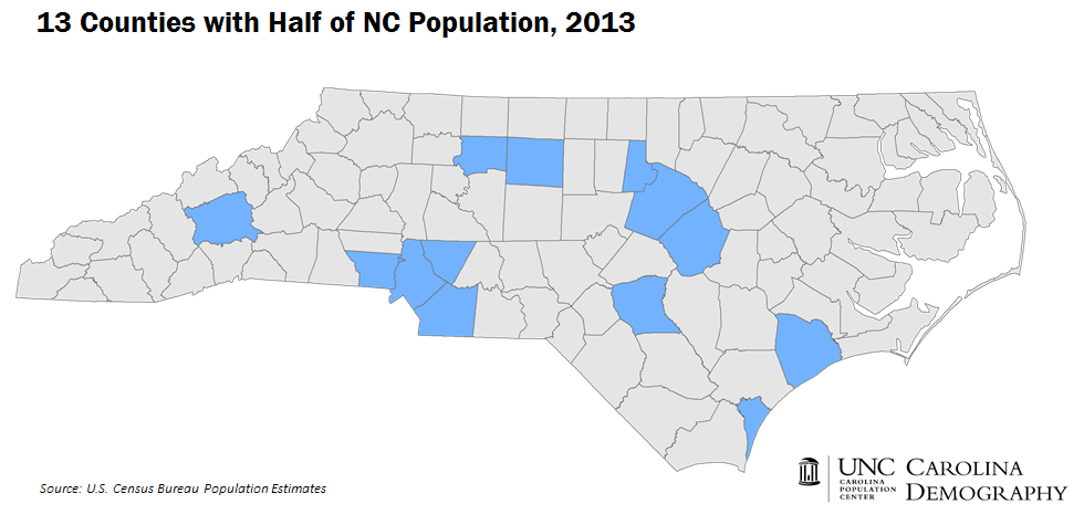 Half of North Carolinians live in these 13 counties_title