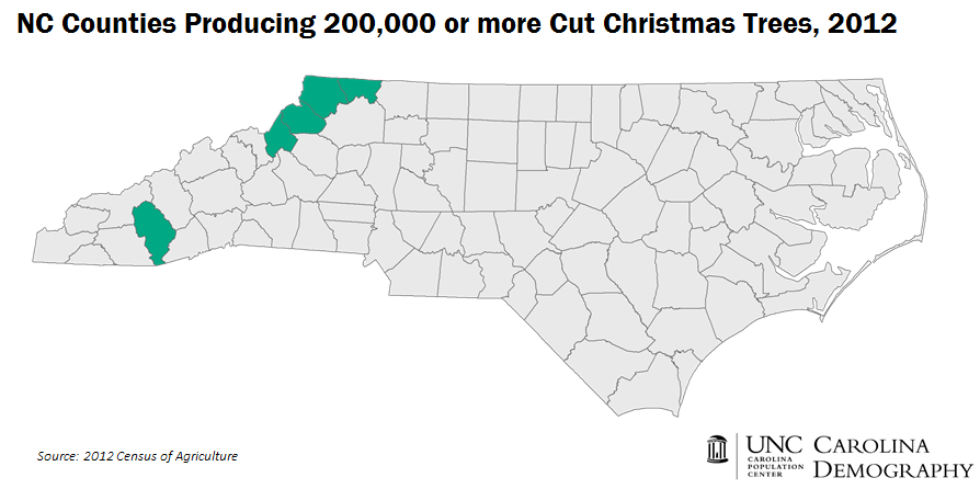 NC Counties with 200K or more cut Christmas Trees 2012