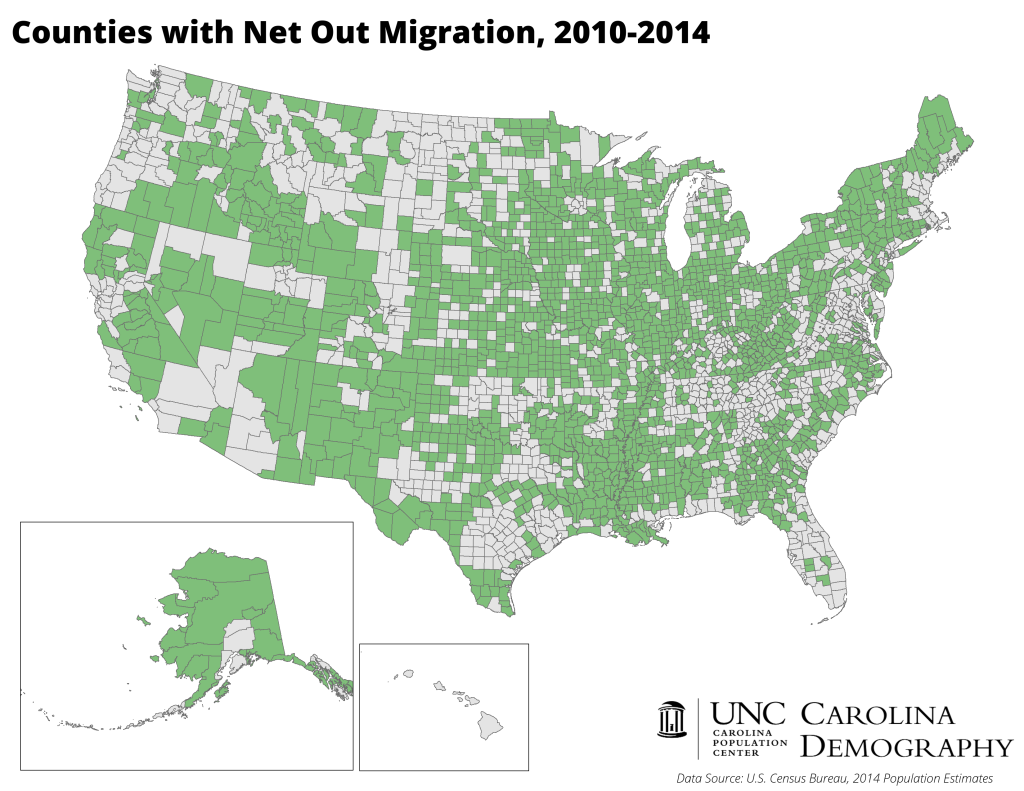 Counties with Net Out Migration_2010 to 2014_US