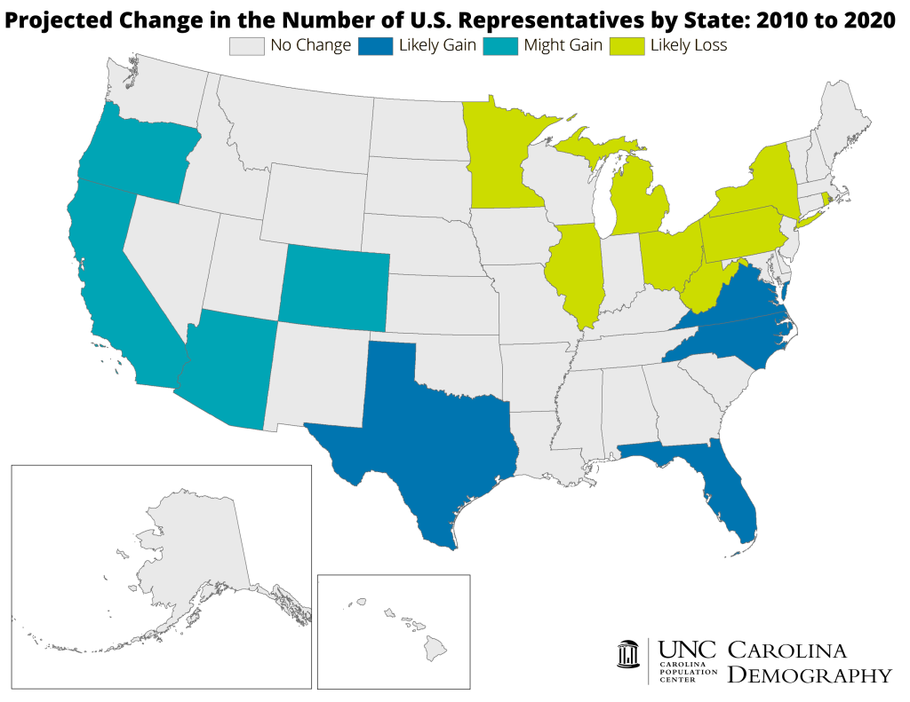 Map showing projected changes in apportionment