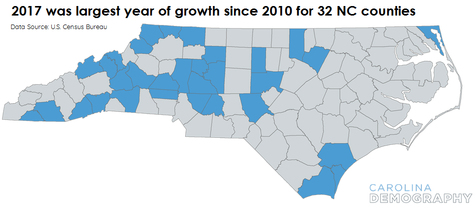 Are nc county growth patterns shifting carolina demography with two exceptionsforsyth county winston salem and new hanover county wilmingtonnone of these 32 counties contained the principal city of a publicscrutiny Gallery