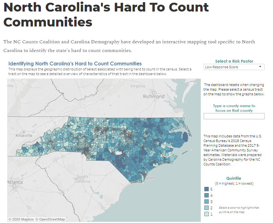 NC COunts tool, hard to count communities, census 2020