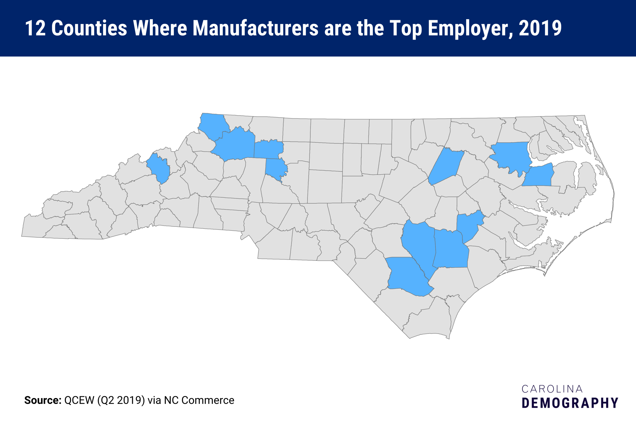 12 counties where manufacturers are the top employer, 2019