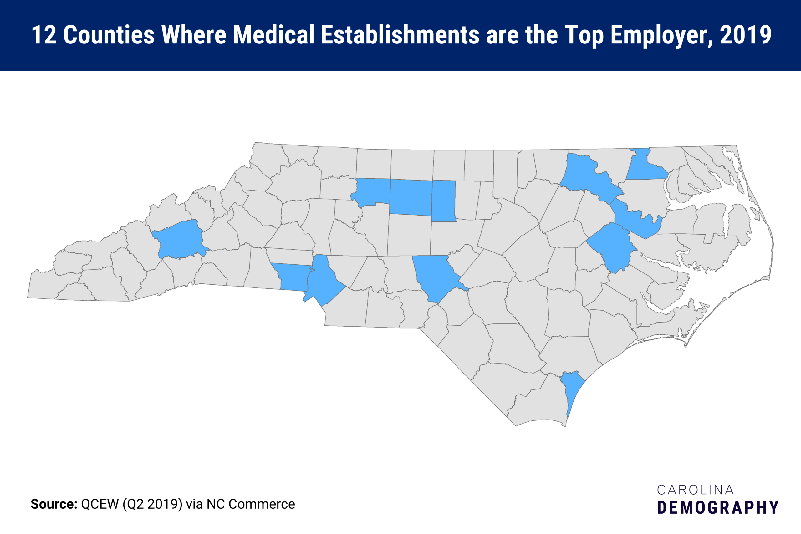 12 counties where medical establishments are the top employer, 2019