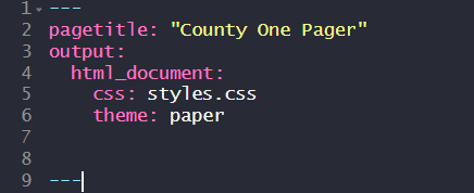 "Code snip:--- pagetitle: ""County One Pager"" output: html_document: css: styles.css theme: paper params: county: ""Wake County"" ---"