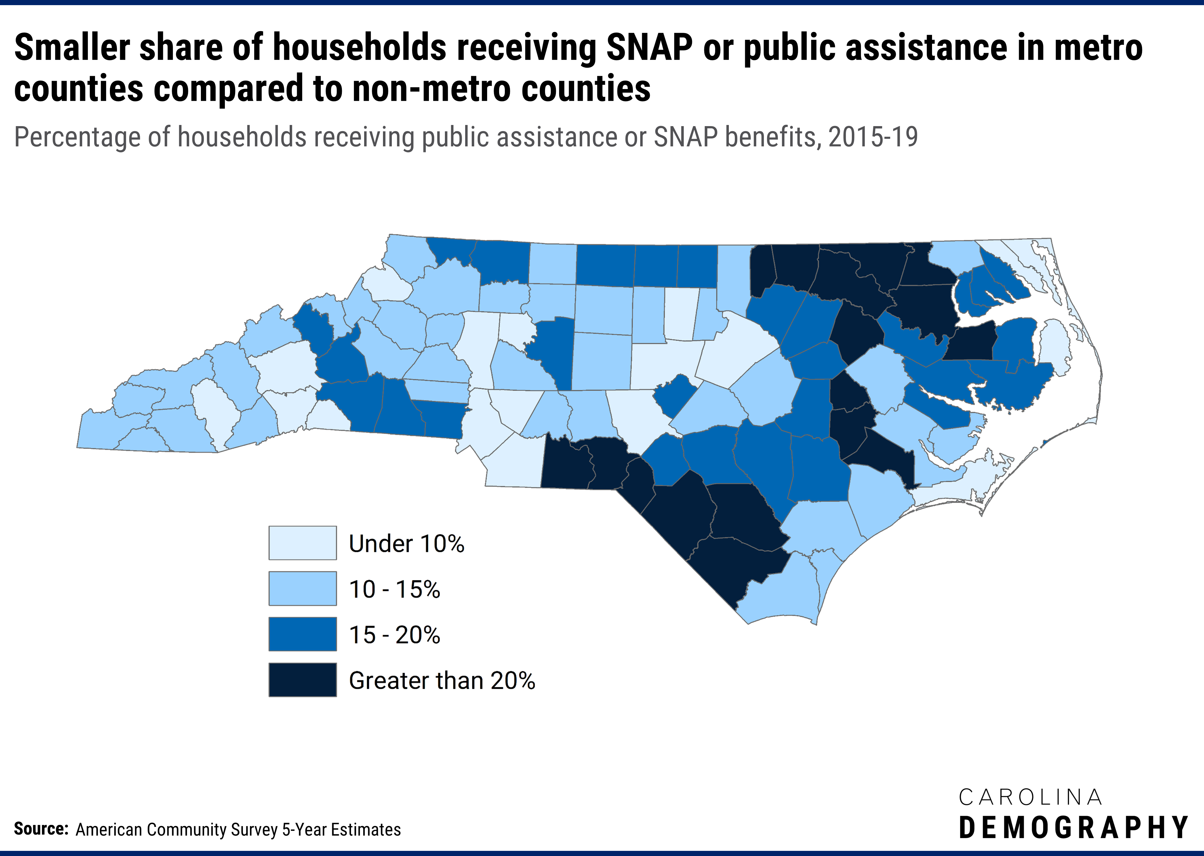 Map: NC SNAP recipients distribution. See associated text for context